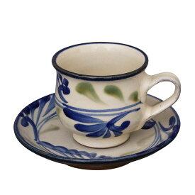 やちむん カップ&ソーサー 線引唐草 陶眞窯   コーヒー カップ ソーサー 沖縄 焼物 焼き物 陶器