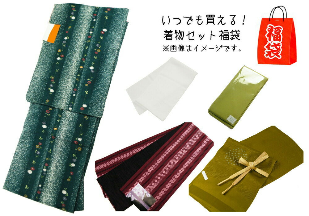 いつでも買える 着物セット 福袋 小紋の着物・細帯・帯揚げ・帯締め・重ね衿・半衿 6点セット