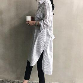 サイドスリット シャツ ワンピース 長袖 ホワイト 白シャツ シャツワンピ チュニック ビッグシルエット オーバーサイズ ロングシャツ ロング丈 大きいサイズ XL 2L 3L ストライプ 春 メール便送料無料