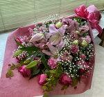 手作り&鮮度重視花束ピンク系<長さ80センチ>『ラッピングカラーお選び下さい』【あす楽】【送料無料】【沖縄・離島はNG】