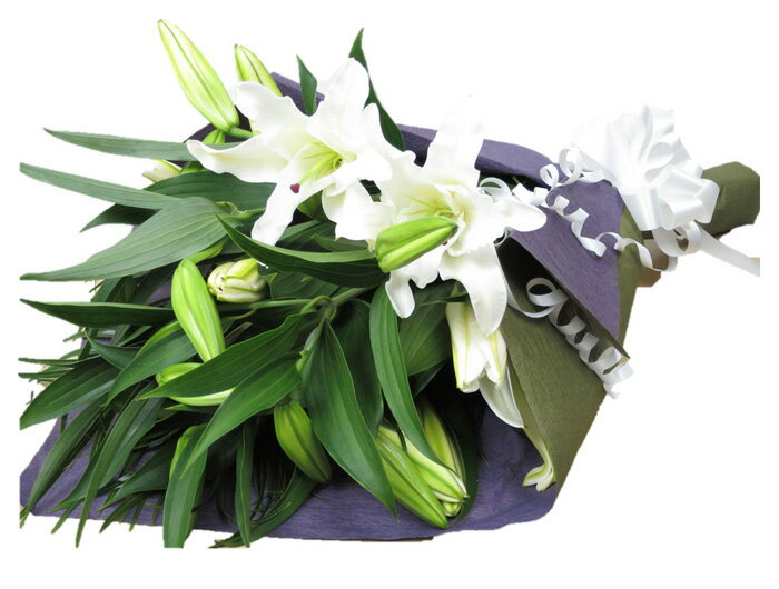 お供えの花 お悔やみの花束 ユリ 花束 百合 カサブランカ花束 枕花 仏壇にお供えするお花