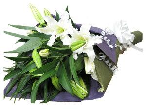 お供えの花 お悔やみの花束 ユリ 花束 百合 カサブランカ花束 枕花 お供えするお花