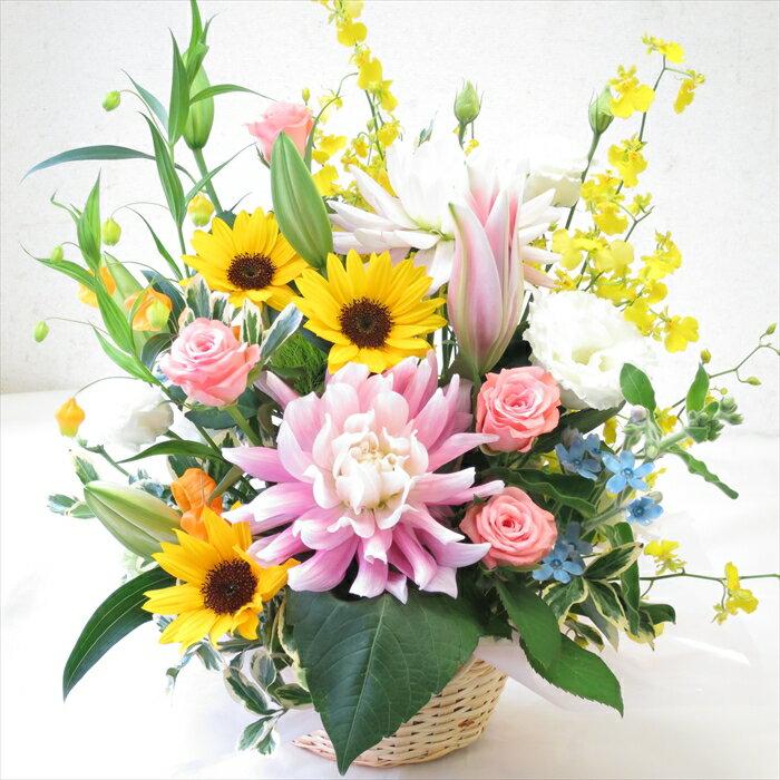フラワーアレンジメント夏のお花の誕生日プレゼント バラやユリの入ったアレンジメント 本州は送料無料