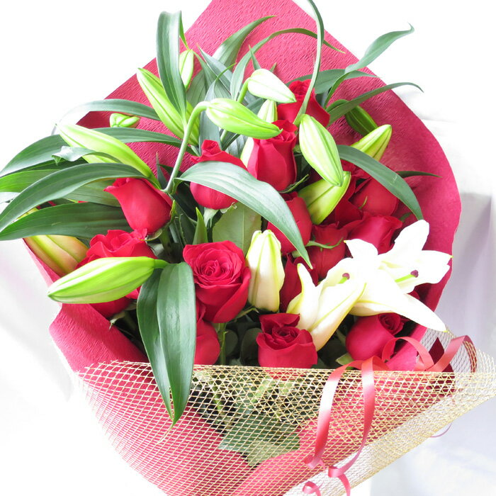 カサブランカとバラの花束 カサブランカ 花束 バラの花束 ユリとバラの花束 誕生日 花 お祝い 送料無料