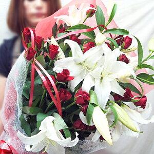 カサブランカとバラの花束 誕生日プレゼント 花束 バラの花束 ユリとバラ花束 誕生日 花 送料無料