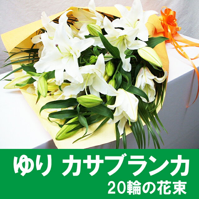 誕生日 花 カサブランカ 花束 長さ約70cm 約20輪