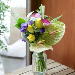 花束 フラワー 花 かわいい 誕生日 お祝 開店祝い プレゼント アンスリウム バラ カラー トルコキキョウ ニューサイラン 紫と黄色が映える ブーケ 送料無料 早割 母の日