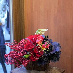 父の日 母も嬉しい フラワー アレンジメント 花 かわいい 誕生日 お祝 開店祝い プレゼント バラ 南天 葉ボタン お正月 にも飾れる アレンジ 送料無料