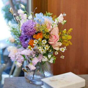 花束 フラワー 花 かわいい 誕生日 お祝 開店祝い プレゼント ミモザ トルコキキョウ ラナンキュラス 色とりどり 春 の ブーケ 送料無料