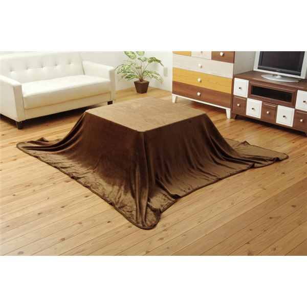 こたつ布団用 中掛け毛布 フランネル 『フラリー』 ブラウン 約200×240cm