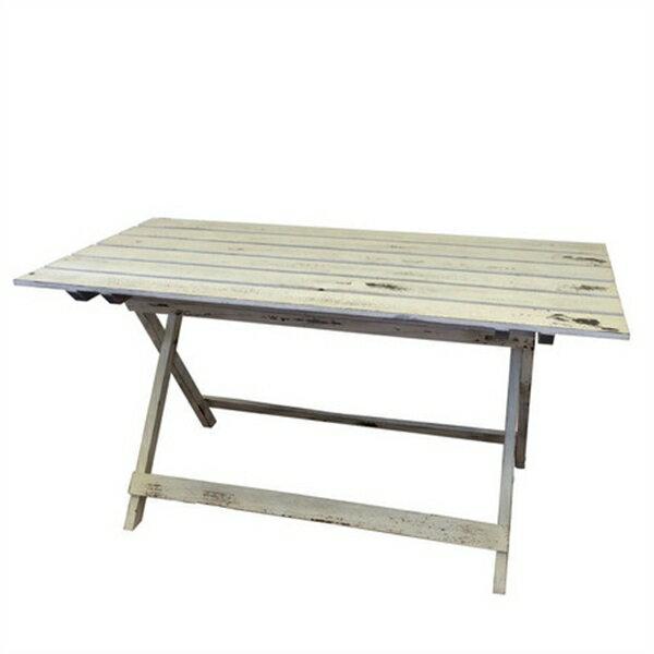 ウッドファニチャー (ホワイト塗装)/折り畳みテーブル/ガーデンテーブル/西海岸