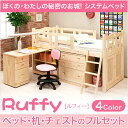 【送料無料】組み変え自由自在のシステムベッド【ルフィー-ruffy】システムベッド 学習机