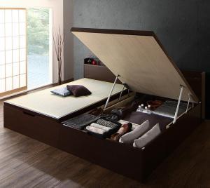 お客様組立 シンプルモダンデザイン大容量収納日本製棚付きガス圧式跳ね上げ畳ベッド 結葉 ユイハ 中国産畳 シングル 深さラージ