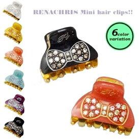 【全6色】RenaChris★スワロフスキーリボン柄のMINIバンスヘアクリップ【メール便OK】hai029