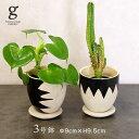 セメントポット ジャギー 植木鉢 鉢 ポット セメント 3号 3寸 直径 9cm 高さ 9.5cm 穴あり 受け皿付き オフホワイト ホワイト ブラック…