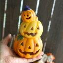 ハロウィン 飾り 陶器製 パンプキンタワー オーナメント【HW403】LEDキャンドルライト2個付き ハロウィーン Halloween…