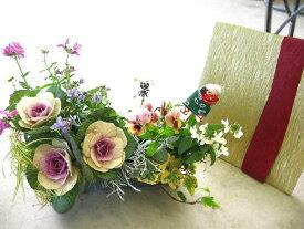 【ミニトレー寄せ植えのみ・入れ替え用】ミニ花はなフレームのお正月寄せ植え「花鳥風月 mini」(お正月飾り 寄せ植え 交換用)