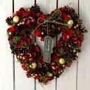 Xmas 飾り リース CMナチュラルハートリースLモストクリスマスレッド Φ33.5cm【CM1071-A】クリスマス Christmas リース 玄関 リング