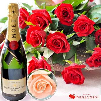 ロマンチックなバラ1ダースとシャンパンを一緒にお届けいたします