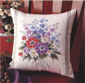"Cotton #6025 cross stitch Embroidery kits ""Anemone cushion"" olm handicraft Laura"