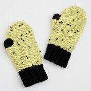 キット編み図付(8W-1402)切り替えカラーのミトンB手袋ポンポンウールダルマ