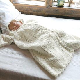 編み図付キット(N-1479) 前開きベビードレス3点セット 手作り キット ベビー ねんね 編み物 手作りキット ハマナカ hama 手芸の山久