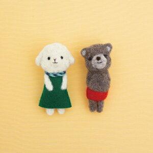 フェルト羊毛で作る小さなブローチ ひつじのメリーと赤パンくん(チャグマ) H441-557 羊毛フェルトキット フェルティングヤーンループ hama ハマナカ 手芸の山久