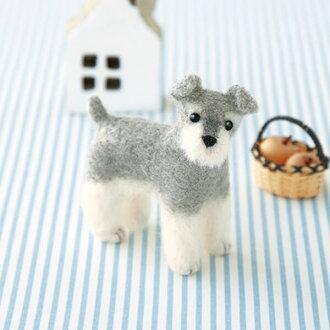 羊毛毡包迷你雪纳瑞犬羊毛毡工具包的狗犬毡合羊毛