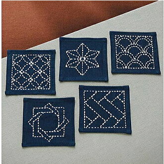 Sashiko 223 (Navy) Laura 05P09Jan16 coaster traditional pattern (set of 5) cotton craft