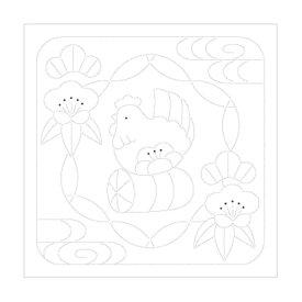干支 刺し子 花ふきん布パック 酉と松竹梅 H-1027 3枚1袋単位 とり オリムパス olm 手芸の山久