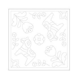 刺し子 布パック 北欧モチーフの花ふきん ダーラナホース 1袋3枚単位 H-1029 ネコポス可 オリムパス olm 手芸の山久