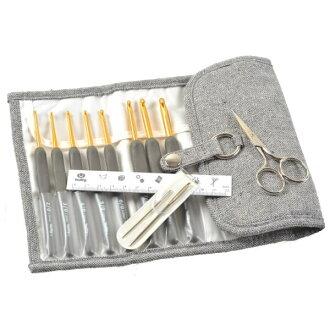 terai チューリップ ETIMO エティモ かぎ針セット「TES001」ロイヤルシルバー(銀柄はさみタイプ) クッショングリップ付かぎ針のセット 手芸の山久