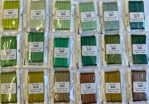 【MOKUBA】木馬 刺繍リボン(エンブロイダリーリボン) 3.5mm巾×5m みどり系・茶系 18色/全78色 No.MER1541e