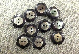 貝ボタン フラワー 18mm Col.09 黒 No.10035840 2つ穴ボタン 1個単位