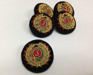 金モール刺繍 プチエンブレムくるみボタン No.B-6113 【1個単位販売】