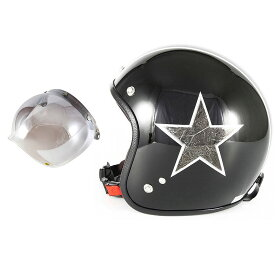 72JAM デザイナーズジェットヘルメット [JCP-51] 開閉シールド付き [JCBN-03]STAR DUST スターダスト ブラック [ピアノブラック/メッキラップエフェクト]FREEサイズ(57-60cm未満) メンズ レディース 兼用品 SG規格 全排気量対応
