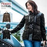 バイク用/秋冬/レディース/パーシャル/レザー/コーデュロイ/ウィンタージャケット/肩、肘、脊椎、胸部プロテクター付属/Rosso/StyleLab/ロッソスタイルラボ/ROJ-979/バイク/オートバイ/女性用/ジャケット/オシャレ/かわいい
