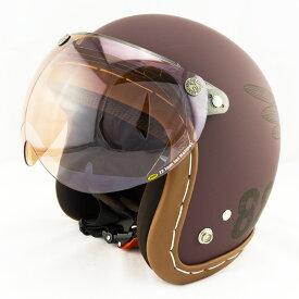 【開閉式シールド付きセット】スモールジェットヘルメット ハンドステッチ仕上げ NEO VINTAGE SERIES VT-11 AMERICAN VINTAGE KOR クロス [バーガンディ×ブラック+APS-05]FREEサイズ(57-60cm) メンズ レディース 兼用品 SG規格、全排気量対応 バイク用