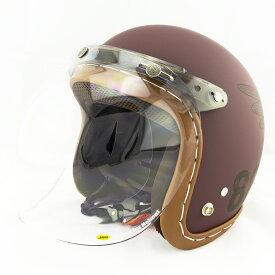 【開閉式シールド付きセット】スモールジェットヘルメット ハンドステッチ仕上げ NEO VINTAGE SERIES VT-11 AMERICAN VINTAGE KOR クロス [バーガンディ×ブラック+JCBN-01]FREEサイズ(57-60cm) メンズ レディース 兼用品 SG規格、全排気量対応 バイク用
