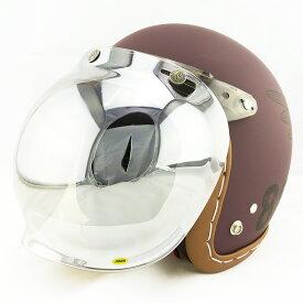【開閉式シールド付きセット】スモールジェットヘルメット ハンドステッチ仕上げ NEO VINTAGE SERIES VT-11 AMERICAN VINTAGE KOR クロス [バーガンディ×ブラック+JCBN-02]FREEサイズ(57-60cm) メンズ レディース 兼用品 SG規格、全排気量対応 バイク用