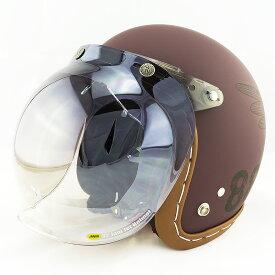 【開閉式シールド付きセット】スモールジェットヘルメット ハンドステッチ仕上げ NEO VINTAGE SERIES VT-11 AMERICAN VINTAGE KOR クロス [バーガンディ×ブラック+JCBN-03]FREEサイズ(57-60cm) メンズ レディース 兼用品 SG規格、全排気量対応 バイク用