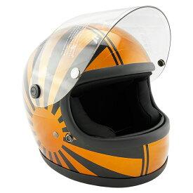 族ヘル レトロ ビンテージ フルフェイス ヘルメット NEO VINTAGE SERIES VT-7 日章 グラフィックモデル [BLACK×GOLD/2サイズ]メンズ レディース 兼用品 SG規格 全排気量対応 バイク用