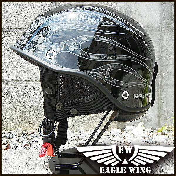LEAD EAGLE WING EW-88GR PSC/SG規格適合品 ハーフヘルメット ブラック×フレア(艶有) FREE(57-60cm) 【リード工業】【バイク】【メンズ】【レディース】【アメリカン】【シングル】【ハーレー】【半キャップ】【ダックテール】【ミリタリー】