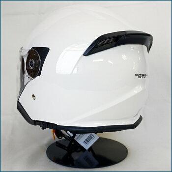 【送料無料】LEAD(リード工業)STRAXSJ-10スモークインナーシールド付きジェットヘルメットWHITE(艶有り)FREE(57-60cm)PSC/SG規格認定全排気量適合バイク/シールド付き/インナーバイザー付き/スクーター/ビッグスクーター等