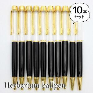 ハーバリウムボールペン 10本セット 中栓新タイプ ハンドメイド 手作りキット 本体 ブラック 黒