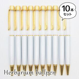 ハーバリウムボールペン 10本セット 中栓新タイプ ハンドメイド 手作りキット 本体 ホワイト 白