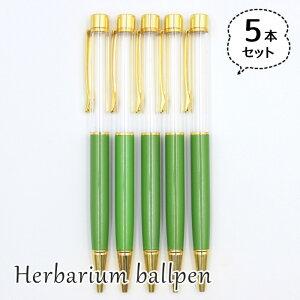 ハーバリウムボールペン 5本セット 中栓新タイプ ハンドメイド 手作りキット 本体 グリーン 緑
