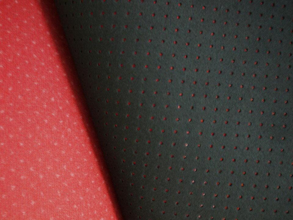 東レ エクセーヌ(アルカンターラ)人工皮革 スエード生地【黒〜ダークグレー パンチング(赤の裏貼あり)】[ECS-PAN-BLACKrd2]