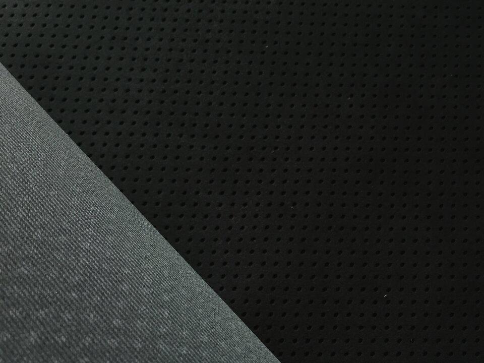 東レ エクセーヌ(アルカンターラ)人工皮革 スエード生地【黒 パンチング(ダークグレーの裏張あり)】[ECS-PAN-BLACK-UGR]