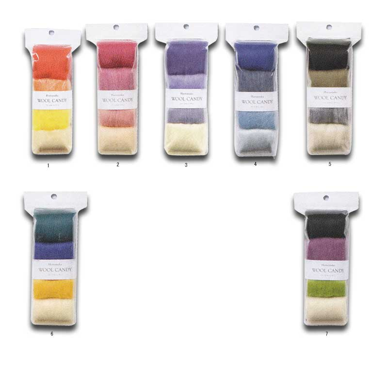 ハマナカ ウールキャンディ4色セット 同系色の羊毛をコンパクトにまとめた手軽なセット